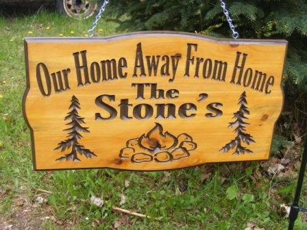 Camping sign Personalized  Cedar Carved Wood by BlackRiverWoodshop