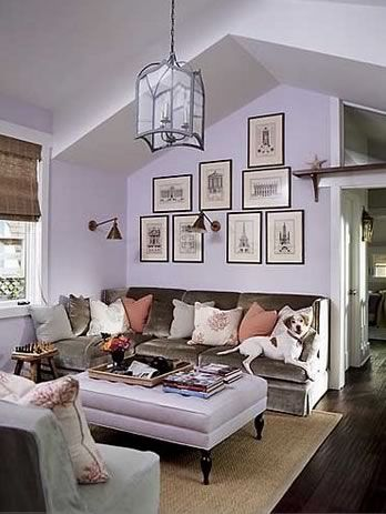 Lavender living room?  Fresh, but cosy - muted hues compliment the lavendar.