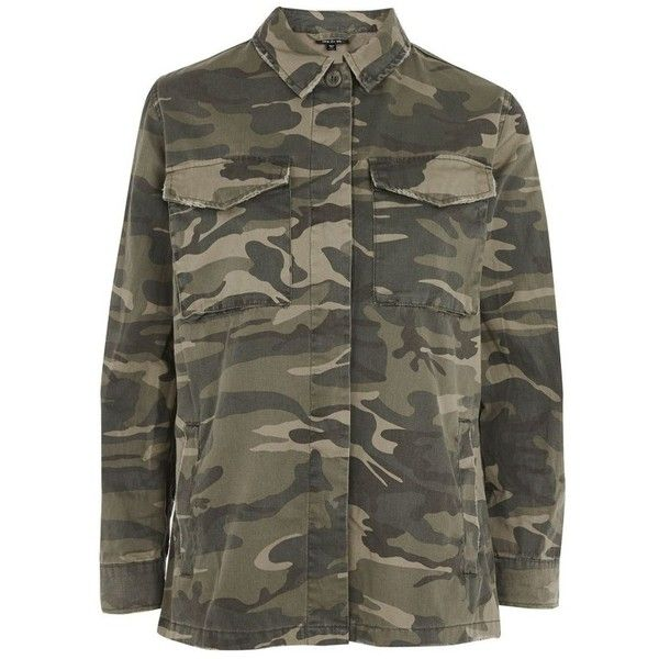 Women's Sampson Camo Shirt Jacket (270 BRL) ❤ liked on Polyvore featuring outerwear, jackets, camoflage jacket, topshop jackets, camo print jacket, camouflage jacket and camo jacket