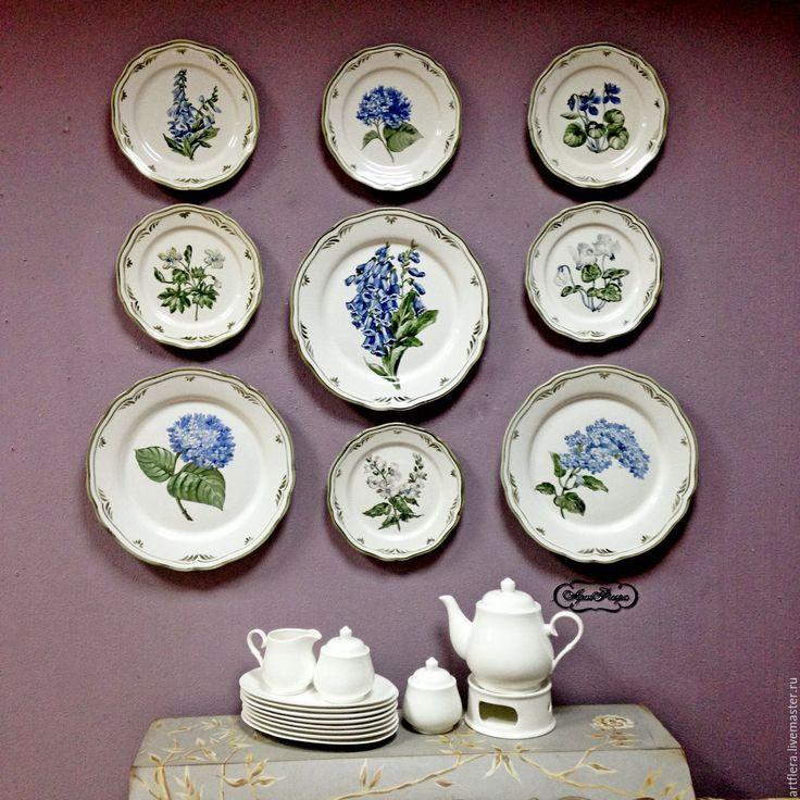 Купить Тарелки на стену. Коллекция. - голубой, тарелка, Тарелка декоративная, тарелка настенная, тарелка с росписью