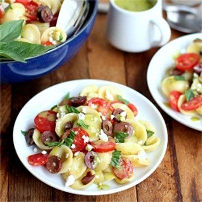 Pasta Salad with Feta, Tomato, Kalamata Olives and Sweet Basil ...