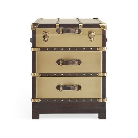 """Martin 20"""" Rectangle Trunk End Table in Antique Brass"""