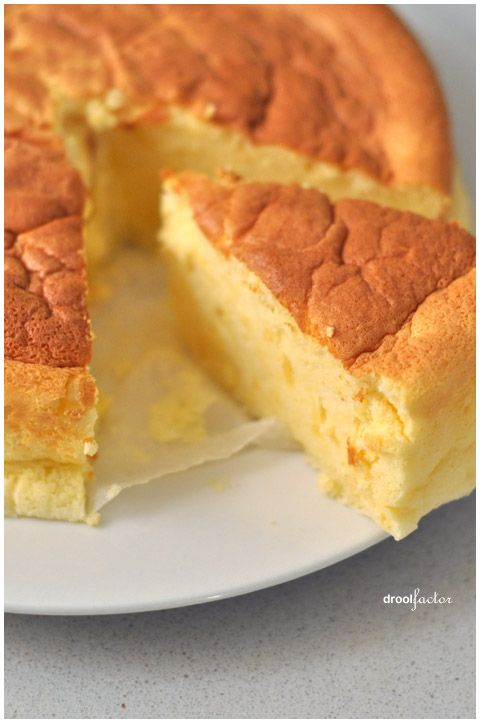 Japanese Cotton Cheesecake..cotton because unlike Western cheesecake, is crustless, soft, and fluffy like cotton...looks delicious! (i hope there's a recipe at this link!)
