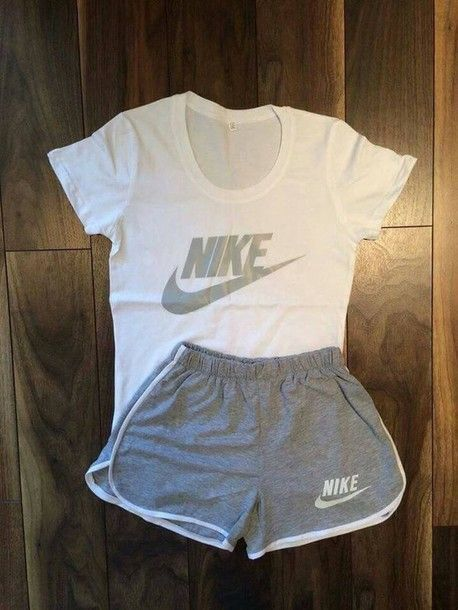 Wheretoget - Nike white tee-shirt and Nike grey shorts  2d0e1be8f42