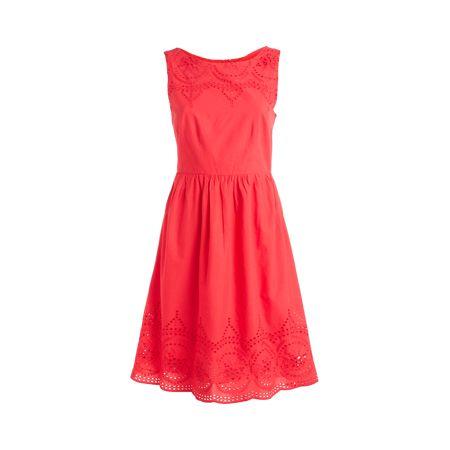 Röd Klänning, Röd klänning med dekorativt hålmöns...
