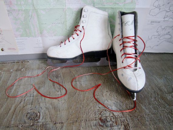 Vintage White Leather Ice Skates ~ Childrens ~ Christmas Decor ~ Winter Decor ~ size 2 ~ CCM brand