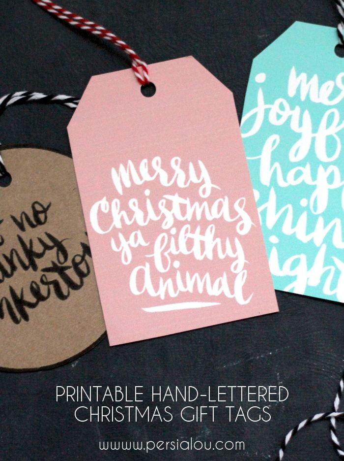 Hand-Lettered Christmas Tags Printable. So pretty!