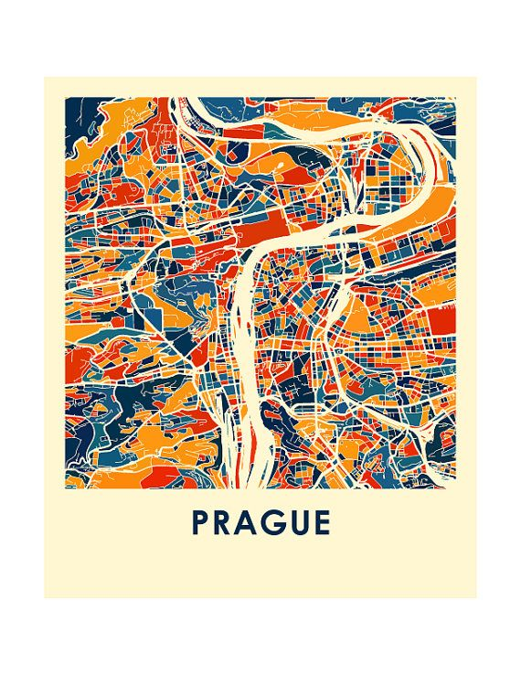 Prague Map Print Full Color Map Poster by iLikeMaps on Etsy