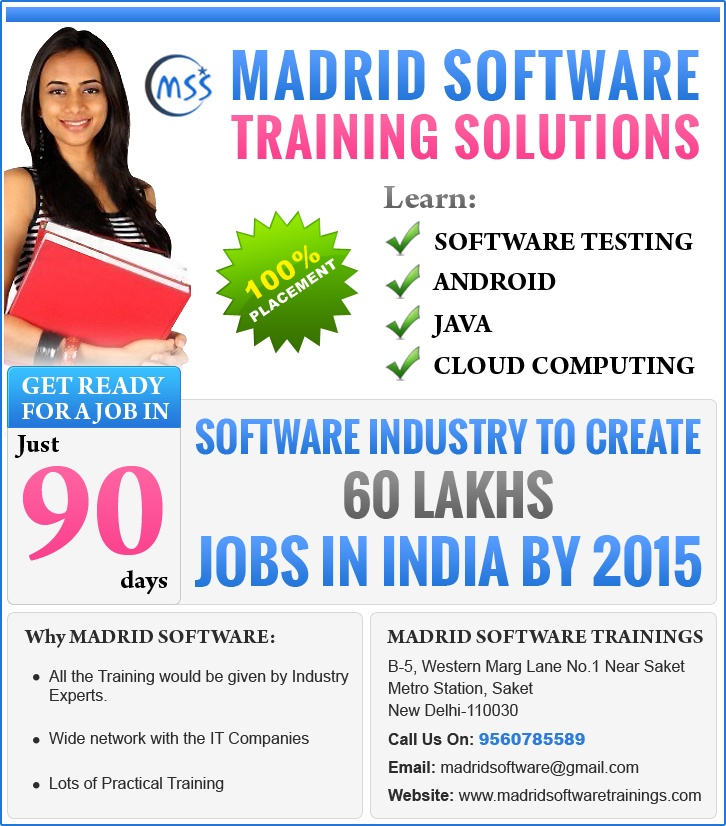 Madrid Software Training Solutions is one of the Best IT Training Center in Delhi , India , we give training on Software Testing , Android , JAVA , .Net , Cloud Computing for details pls conatct - 09560785589