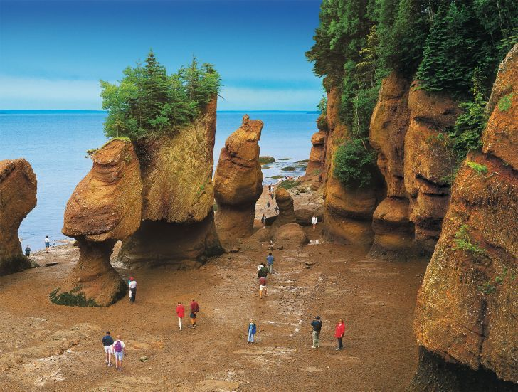 The Bay of Fundy (Baie de Fundy) is a bay on the Atlantic coast of North America, on the northeast end of the Gulf of Maine between the Canadian provinces of New Brunswick and Nova Scotia, with a small portion touching the U.S. state of Maine.