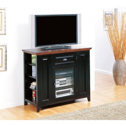 @Overstock - Update your entertainment needs with this television console featuring six adjustable bookcase shelves, accommodating 272 plus DVD's. This handsome console has a two-tone black and cherry finish, and is compatible with tv's upto 42 inches.http://www.overstock.com/Home-Garden/Black-Cherry-42-inch-TV-Stand-Media-Console/6483847/product.html?CID=214117 $383.89