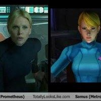 Vickers (Prometheus) Totally Looks Like Samus (Metroid) >> Charlize Theron would be my choice to play Samus in the Metroid movie, that's for sure