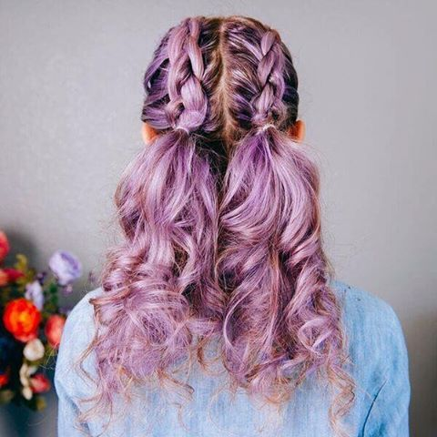 We love this adorable braided pigtails look on @bellaromeo   Wanna learn how to do this style on your own head!? DIY tutorial coming to the oVertone blog soon!  Bella's color is Pastel Purple mixed with some Vibrant Silver