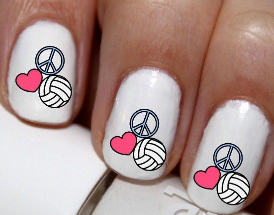 20 pc Peace Love and Volleyball Volleyball Heart by EasyNailTrends