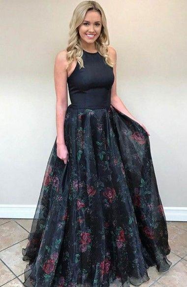 1f36ea9d6afb A-Line Jewel Sweep Train Black Printed Chiffon Sleeveless Open Back Prom  Dress