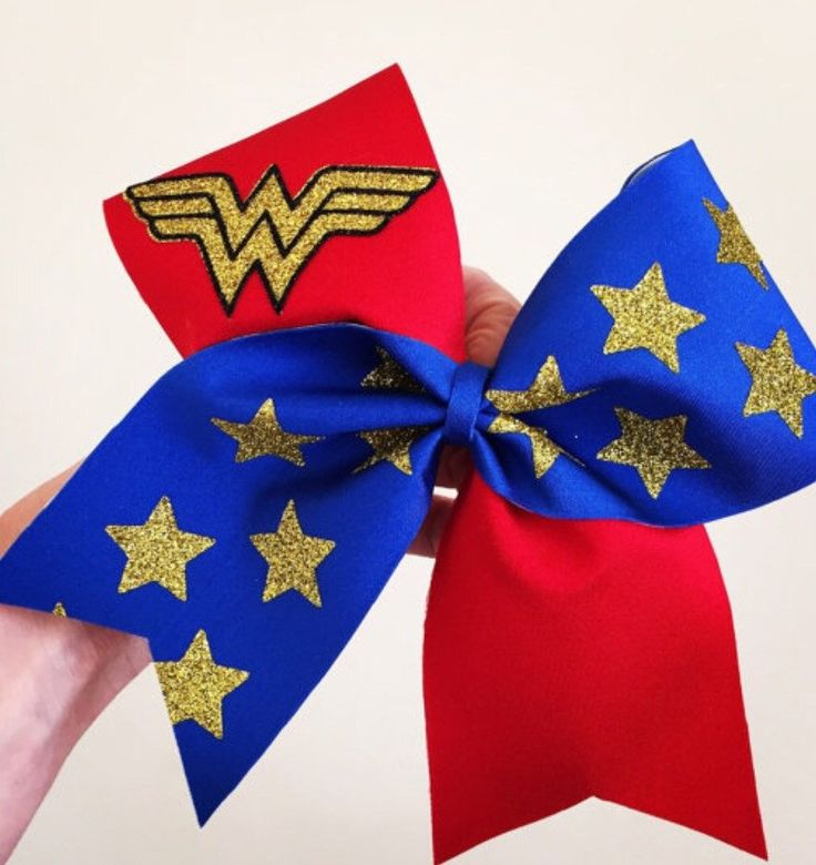 Deluxe Wonder Woman Cheer Bow! Ponytail holder attached! Free Shipping!                                                                                                                                                                                 More