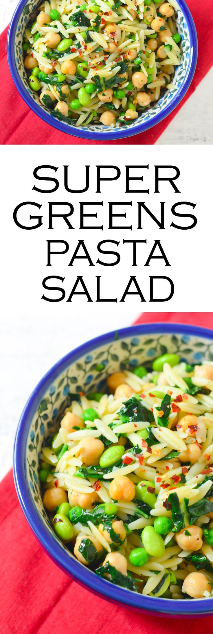 Get your superfoods + greens with this delicious pasta salad that's great warm or cold. Have it for lunch or dinner w. less guilt than regular pasta salad. It's healthy and delicious with frozen peas, edamame, and chickpeas!