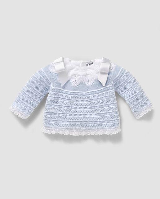 Jersey de bebé niño en azul con babero