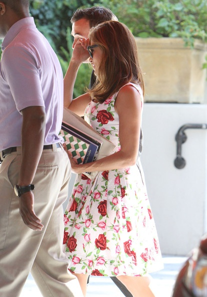 Eva Mendes: looking so cute, in her flower summer dress. At The Sunset Tower Hotel