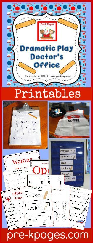 Doctor's Office Dramatic Play Center Printables for #preschool and #kindergarten