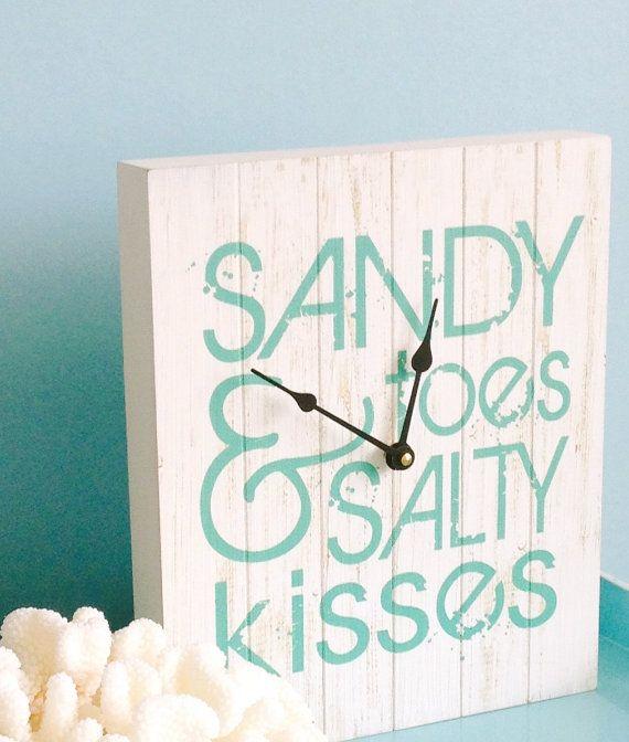 Beach Decor Clock/Sign  Sandy Toes & Salty by SeashellCollection
