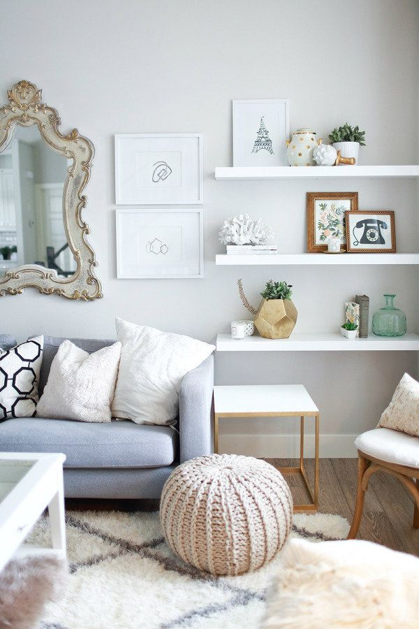 white floating shelves living room