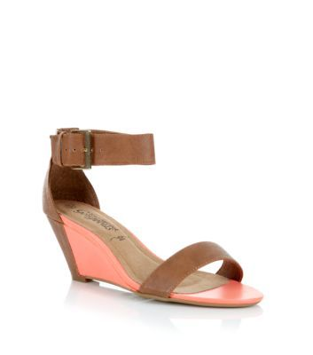 Neon Coral and Tan Ankle Strap Wedge Sandals