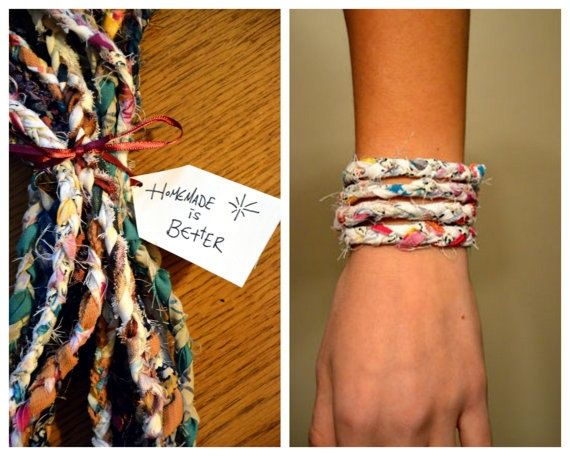 Project to make: scraps of fabric bracelets. I've got plenty of scraps hanging around that I don't know what to do with.