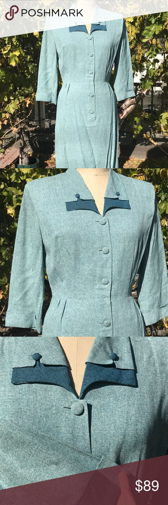 Vintage 1940s gabardine dress RARE larger size!   Vintage 40s gabardine dress in the prettiest robin egg blue! Dark blue accents. All original covered buttons. Label is Style Lure of CA.   Measurements: up to 40in bust due to pleated nature. Waist waist up to 32in. Hips up to 42in. No stretch.   Condition: Fabric is strong, no wear or weakness. No holes noted. Noticed very faint color change in right pit, may want to dry clean. Note that the lines in skirt are shadows from the power lines…