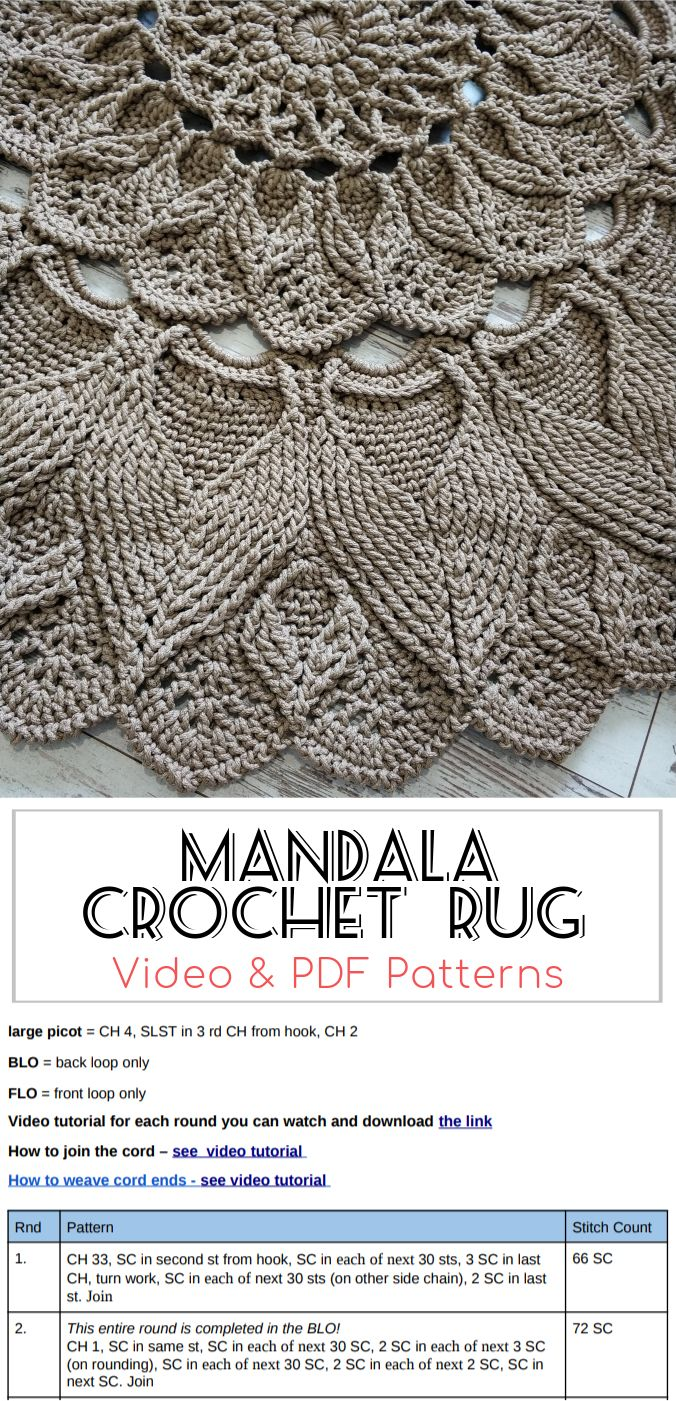 Mandala Crochet Rug Video Pdf Tutorials See All Carpet Patterns In 2020 Crochet Rug Patterns Crochet Mandala Crochet Rug