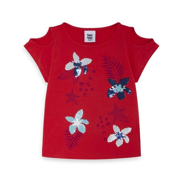 Camiseta De Nina En Rojo Con Lentejuelas Reversibles En 2020