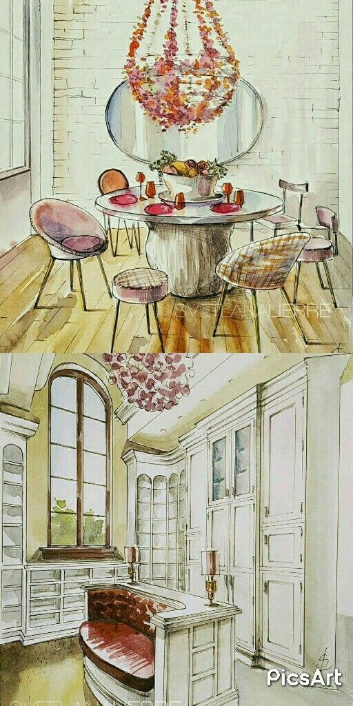 Very glamorous dining and dressing rooms. Watercolour interior illustrations.