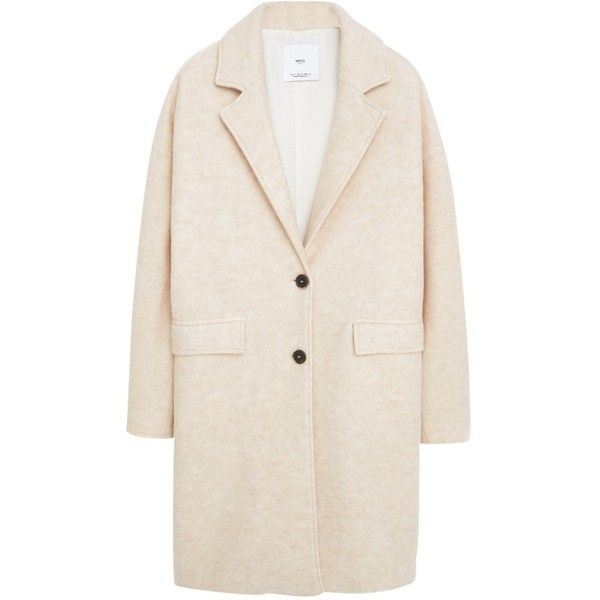 Mango Wool Coat, Pastel Pink (€140) ❤ liked on Polyvore featuring outerwear, coats, long sleeve coat, woolen coat, pink coat, short coat and wool coat