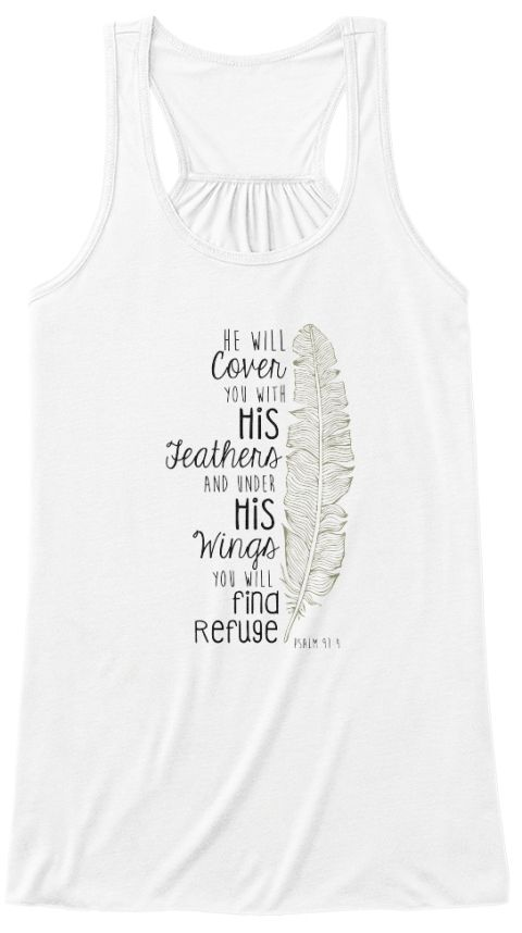 He Will Cover You White Women's Tank Top Front