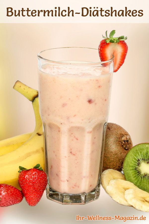 Rezept für einen gesunden Buttermilch-Diät-Shake mit Erdbeeren und Banane zum Abnehmen