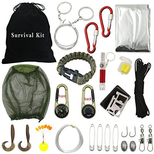 Sportsun Outdoor Survival Kits with Emergency Equipment for Hikers Campers and Survivalist, Lightweight, Small and Easy to Carry 18 Different Accessories ** Click image for more details.