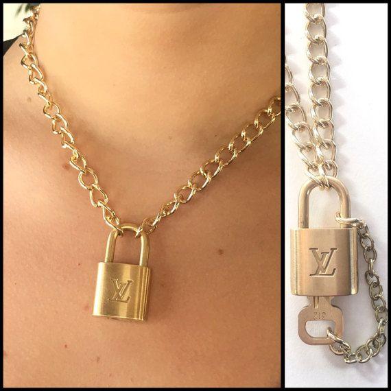 a324d9ced Louis Vuitton Lock Necklace, Louis Vuitton Jewelry with Removable Key,  Authentic Louis Vuitton