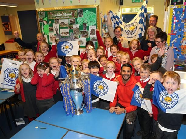 Meeting your hero isn't something that you get to do every day, but that's exactly what happened when Riyad Mahrez visited Tugby Church of England Primary School on Wednesday.