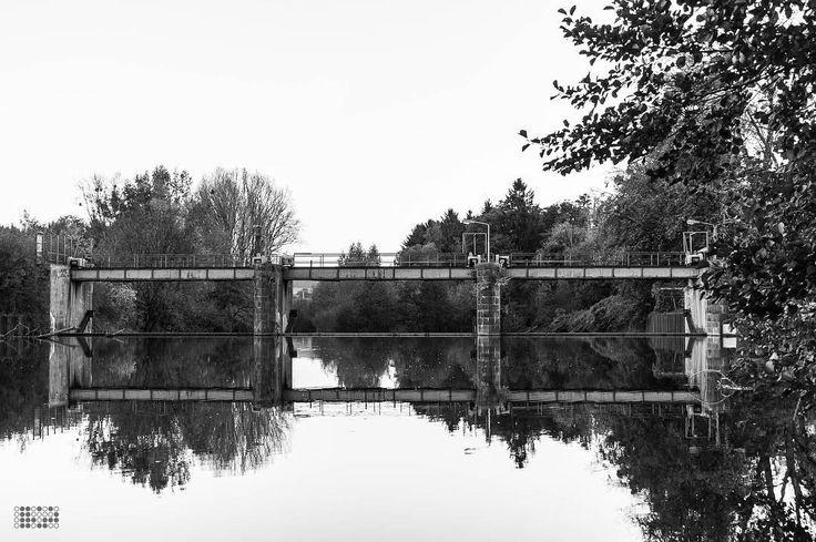 Am Wehr // At the weir. . . . #autumn #fall #herbst #ruhrgebiet #ruhrarea #ruhrdistrict #wickede #igerswickede #architektur #architecture #reflection #spiegelung #reflektion #naturephotography #beautyofnature #naturfotografie #natur #nature #lightroom #nikondf #df #Nikon #schwarzweiss #blackandwhite #schwarzweiß #igersbnw #bnw #igersbnw #bw_lover #smalltownsnapshots