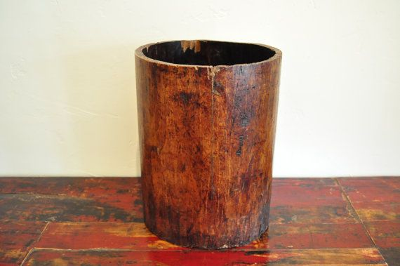 Antique Chinese Container, Rustic Bucket, Rustic Waste Basket