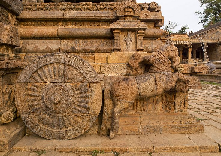 Rock Cut Carving Of The Horse Drawn Chariot Onto The Mandapam In The Airavatesvara Temple, Darasuram, India