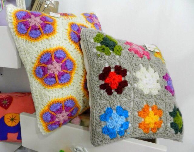 Colorful #crochet pillows ❤️