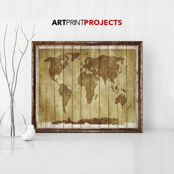 Large world map vintage style map map poster world map