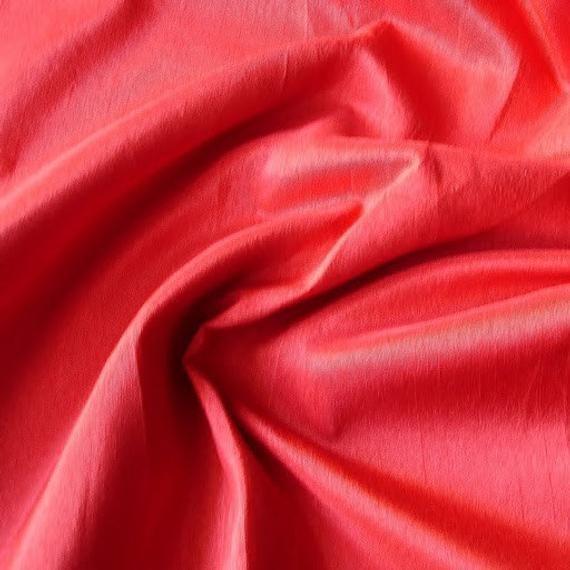 Blood Red Art Silk Fabric By The Yard, Faux Silk Curtain Fabric, Apparel Fabric, Silk Dupioni Fabric