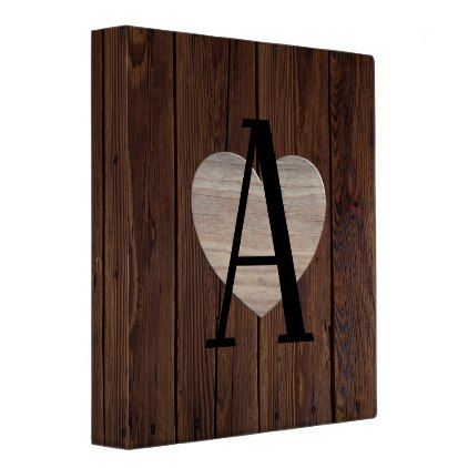 Rustic Wood Letter A - Add ANY Initial Monogram Binder - wood gifts ideas diy cyo natural