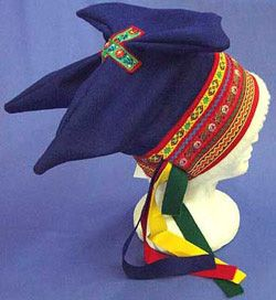 The Four Winds cap is a folk headdress worn by the Sami, the reindeer herding people of Scandinavia.