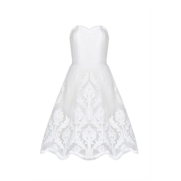 Honey couture bayley white strapless lace bandage dress (9.290 RUB) ❤ liked on Polyvore featuring dresses, white strapless dress, strapless lace dress, zip up dress, lace overlay dress and white zip up dress