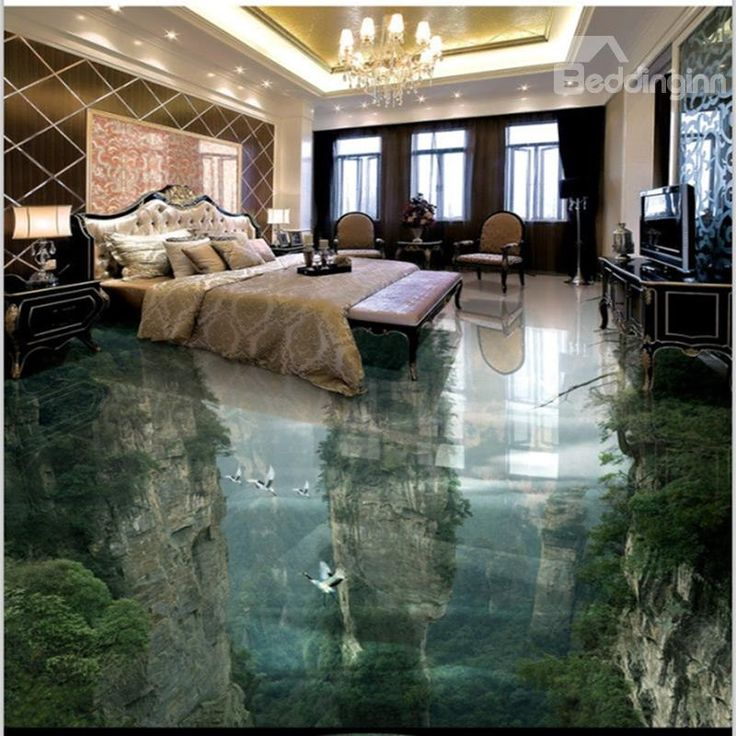 3D Green Trees and Mountain Reflecting in Lake Waterproof Non-slip Eco-friendly Floor Murals