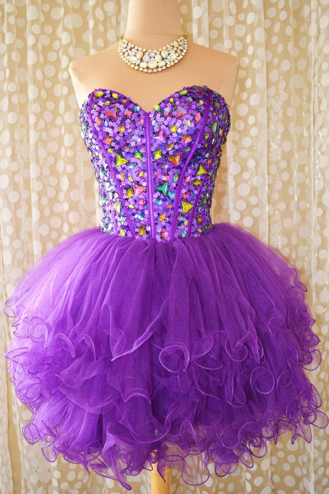 PURPLE SHORT PROM COCKTAIL EVENING HOMECOMING WEDDING PAGEANT GOWN DRESS M 8 #UnbrandedPrivateLabel #Corset #Cocktail