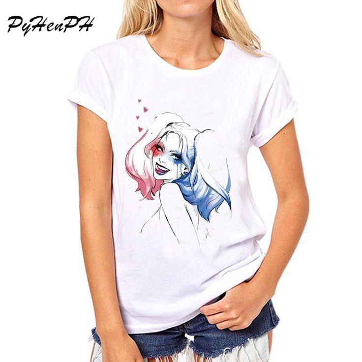 PyHen Summer Shirts Harley Quinn T Shirt Women O-neck T-shirt Casual t shirt Top Tees Camisa Short Sleeve